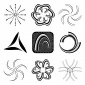 A set of design elements black and white