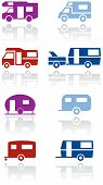 picture of caravan  - Caravan or camper van symbol vector illustration set - JPG