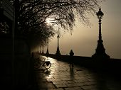 Silhouetted Walkway