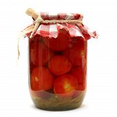 Preserves. Pickled Tomato In Glass Isolated On White Background