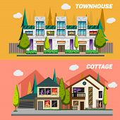 ������, ������: Street with townhouses and country houses Set of elements for the construction urban landscapes Ve