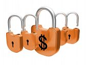 Padlocks - Us Dollar Currency Safety Concept