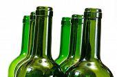 Wine Bottles Close-up Isolated Over White Background