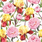 Постер, плакат: Seamless floral pattern Peonies flowers and irises Watercolor