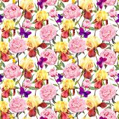 Постер, плакат: Repeating floral pattern Peonies flowers irises and butterflies Watercolour