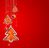 red Christmas Background With Tree