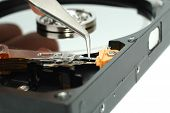 Close Up Of Opened Hard Disk Drive