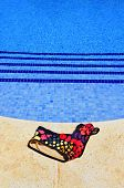 picture of nudism  - a swimsuit in a swimming pool in the summer - JPG
