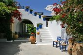 picture of ouzo  - beautiful typical greek tavern on rhodes island - JPG