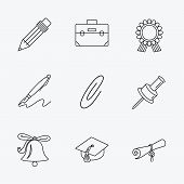 Постер, плакат: Graduation cap pencil and diploma icons