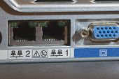 stock photo of nic  - rear view of a server showing nics and vga port - JPG