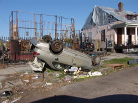 picture of katrina  - damage to homes caused by hurricane katrina in new orleans louisiana - JPG