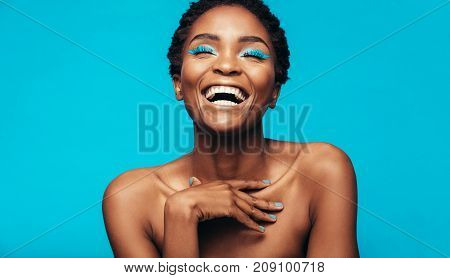 poster of Cheerful Young Woman With Vibrant Makeup