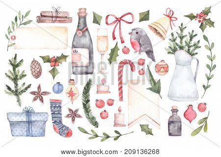 poster of Watercolor Illustration. Decorative Christmas Elements With Floral Elements, Christmas Decorations,