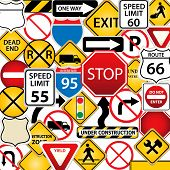 picture of traffic sign  - Collage of road and traffic signs as background - JPG