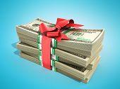 Concept Of Money Deposite Bonus Stack Of Dollar Bills Cash With Red Bow 3D Render On Blue poster