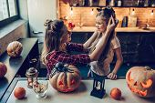 Mom With Daughter On Halloween poster