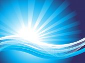 abstract wavy background, blue vector illustration