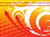 arrows on orange halftone background, texture