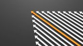 Leadership, Success, And Teamwork Concept, Orange Leader Arrow Leading White Arrows, On Black Backgr poster