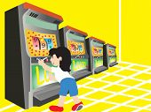 boy playing with slot machine, illustration