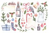 Watercolor Illustration. Decorative Christmas Elements With Floral Elements, Christmas Decorations, poster