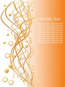 random waves with circles and sample text on orange background, wallpaper
