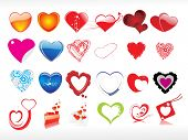 vector illustration of heart icon set