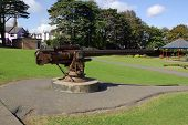 stock photo of u-boat  - U Boat deck gun taken from UB 19 presented to Bangor town in recognition of the valour of Commander Bingham at the battle of Jutland - JPG