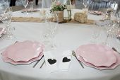 Festive Table Setting At A Wedding Reception Table Setting poster
