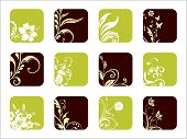 creative floral design icons, vector environment icons set