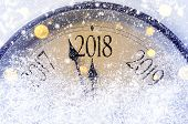 Countdown to midnight. Retro style clock counting last moments before Christmas or New Year 2018. poster