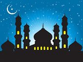 silhouette of mosques in the moon night, wallpaper