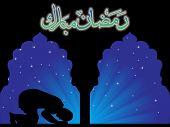 Fondo de la raya azul con hombre rezando en la mezquita