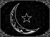 black creative border background with eid night
