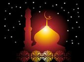 shiny star background with mosque, creative blossom