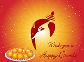 mustard shiny rays background with ganpati face, sweets