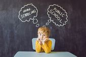 Homeschooling Vs Public Schools - The Boy Sits At The Table And Chooses Between Home Schooling And P poster