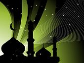 abstract green stripes, wave background with mosque