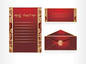 background with christmas postcard, letterhead and envelope
