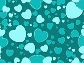 romantic seagreen heart shape background, vector wallpaper