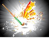 grey rays background with hockey stick and ball, vector grunge and star illustration