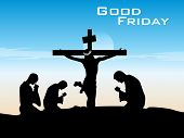good friday background with people praying to god