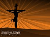 mustard rays background with jesus silhouette on cross