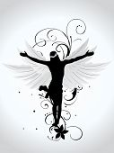 abstract background with black floral, wing with jesus silhouette
