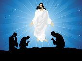 abstract blue rays background with people praying to jesus