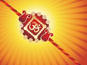 yellow rays background with isolated rakhi