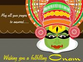 image of pookolam  - background with isolated kathkali actor face - JPG