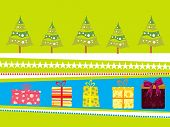 background with xmas tree, colorful gift box