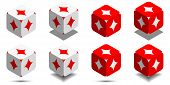 Cube With Card Diamond In Red And White Colors, Vector Icon Of Playing Diamond poster
